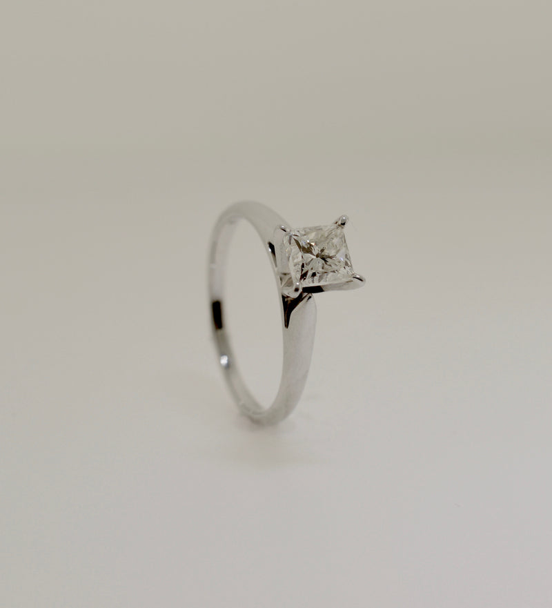 Solitaire Princess Cut Diamond White Gold Engagement Ring