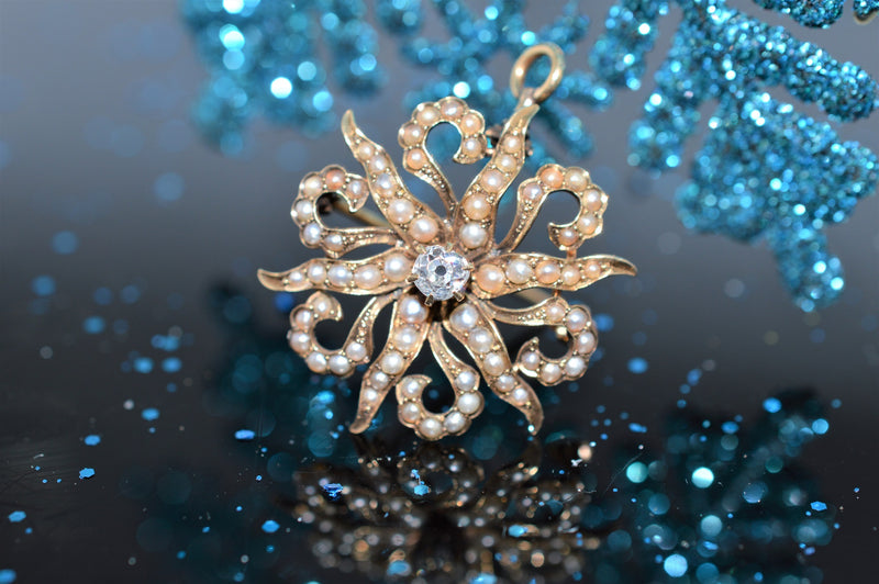 Antique Diamond and Pearl Starburst Brooch/Pendant