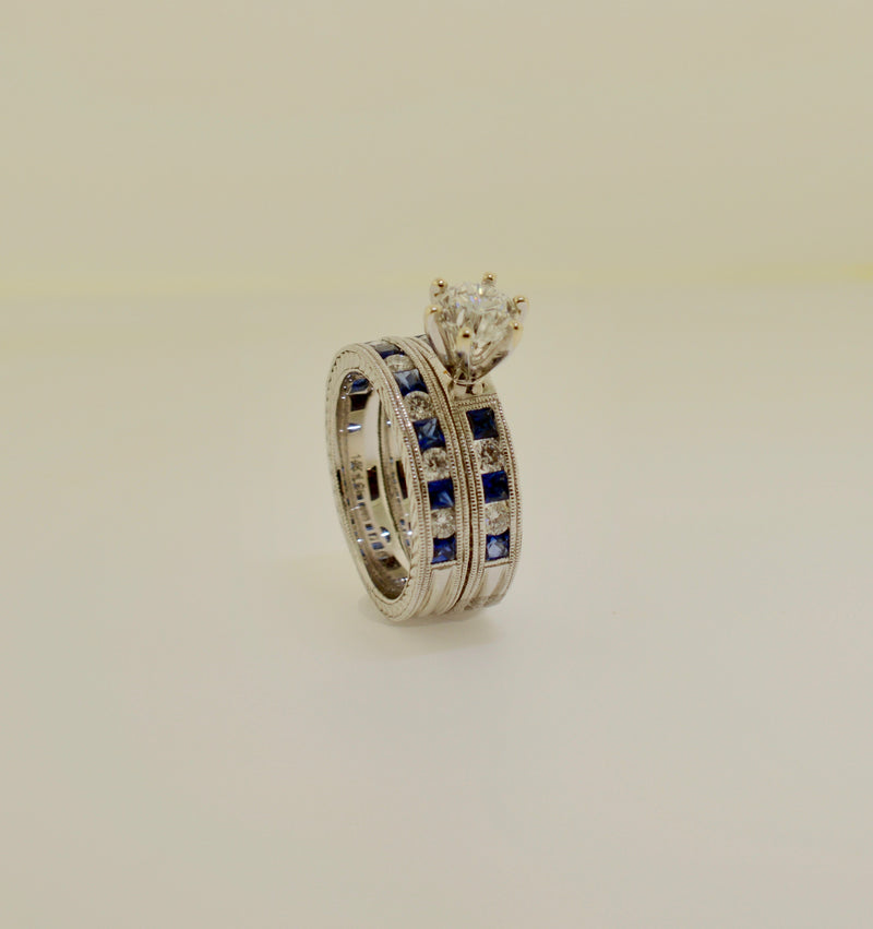 Diamond and Sapphire Engagement and Band Ring Set