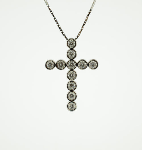 Round Diamond White Gold Cross Necklace