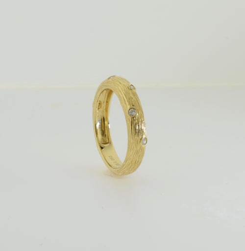 Yellow Gold and Diamond Nature Inspired Wedding Band Ring