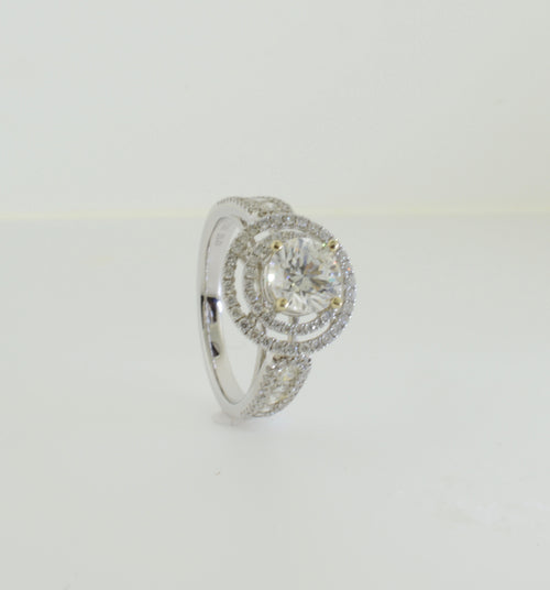 Double Halo Round Brilliant Diamond Engagement White Gold Ring