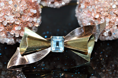 14K Yellow And Rose Gold Aquamarine Cartier Brooch