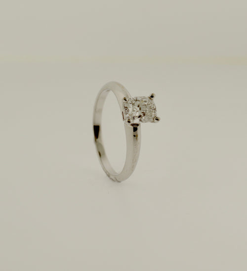 Solitaire Cushion Cut Diamond White Gold Engagement Ring