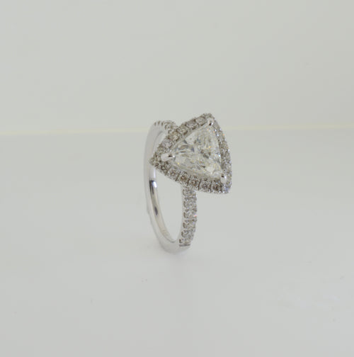 Trillion Cut Diamond with Halo White Gold Engagement Ring