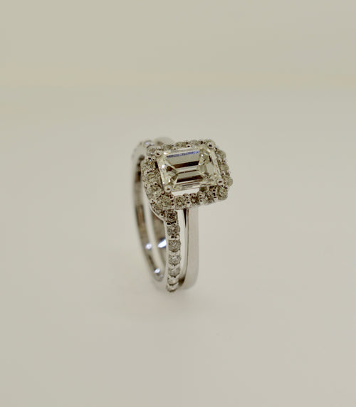 White Gold Emerald Cut Diamond Engagement and Band Wedding Ring Set