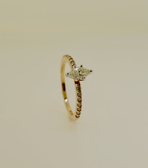 Yellow Gold Marquise Diamond Engagement Ring