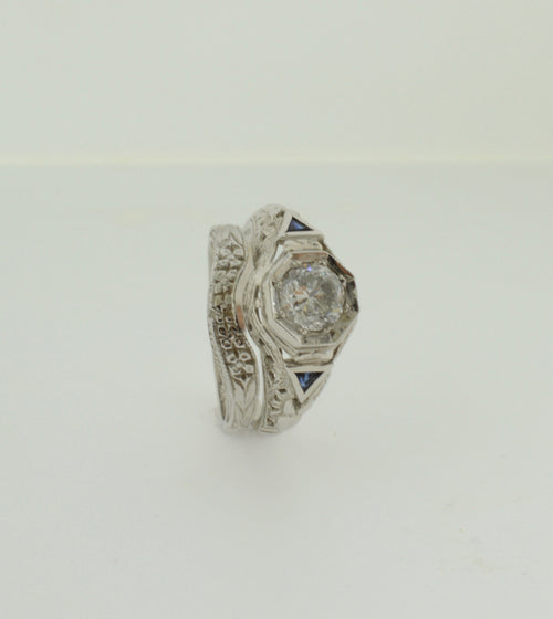 Vintage Inspired Filagree and Sapphire Diamond White Gold Wedding Ring Set