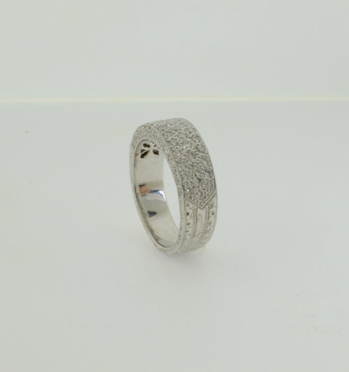 Pave Set Diamond White Gold Anniversary/Wedding Band Ring