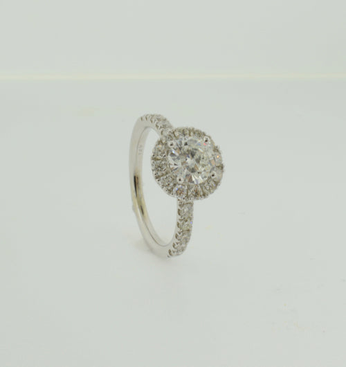 Brilliant Round Cut Diamond White Gold Engagement Ring with Halo