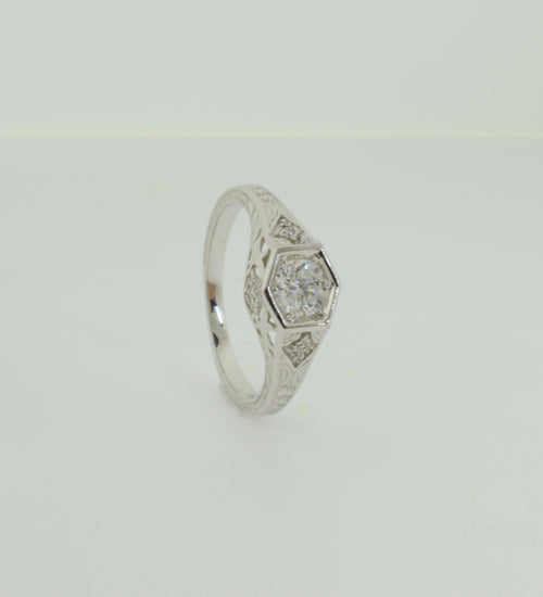 Geometric Design White Gold Diamond Engagement Ring