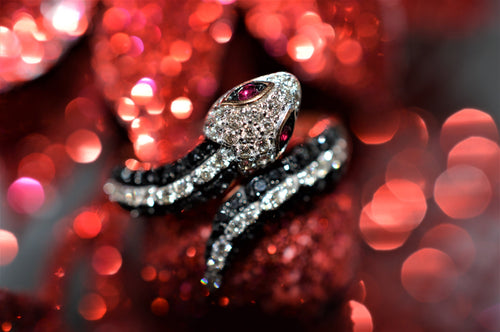 14K Rose Gold Diamond And Ruby Snake Ring