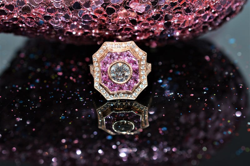 Rose Gold Diamond and Pink Tourmaline Art Deco Inspired Ring