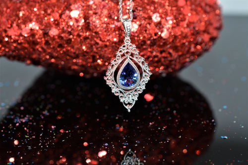 14K White Gold Filigree Tanzanite Pendant