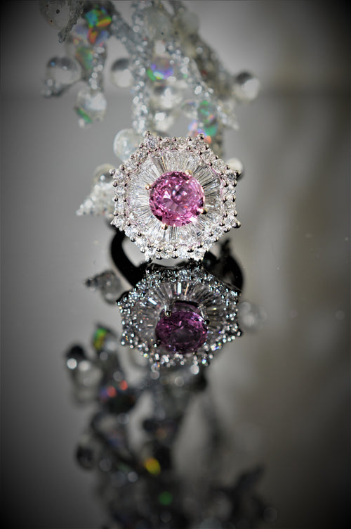18K Diamond and Pink Sapphire Ring