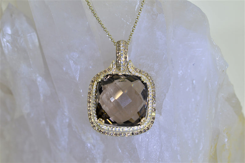14K Yellow Gold Smokey Quartz And Diamond Pendant