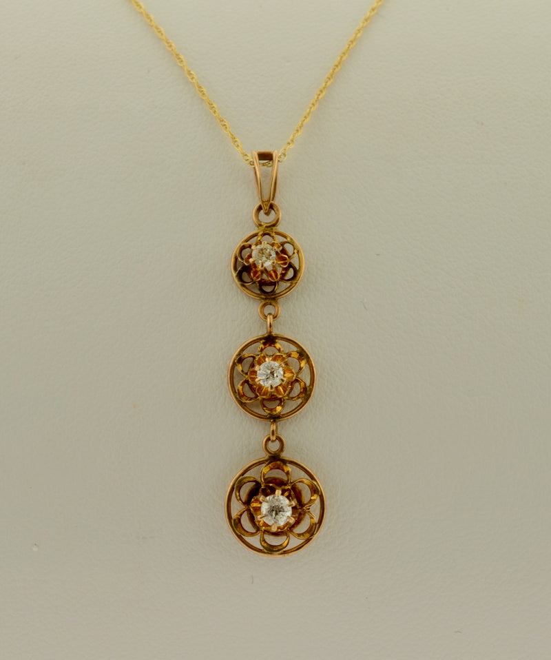 Antique Diamond Past, Present, and Future Gold Lavalier Necklace