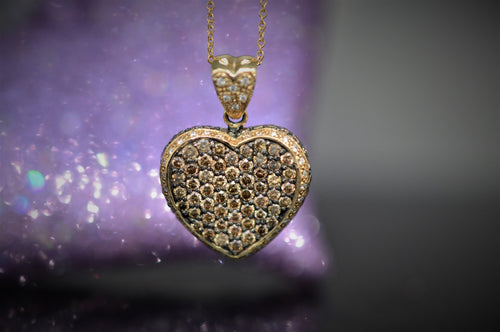 14K Chocolate Diamond LeVian Heart Pendant