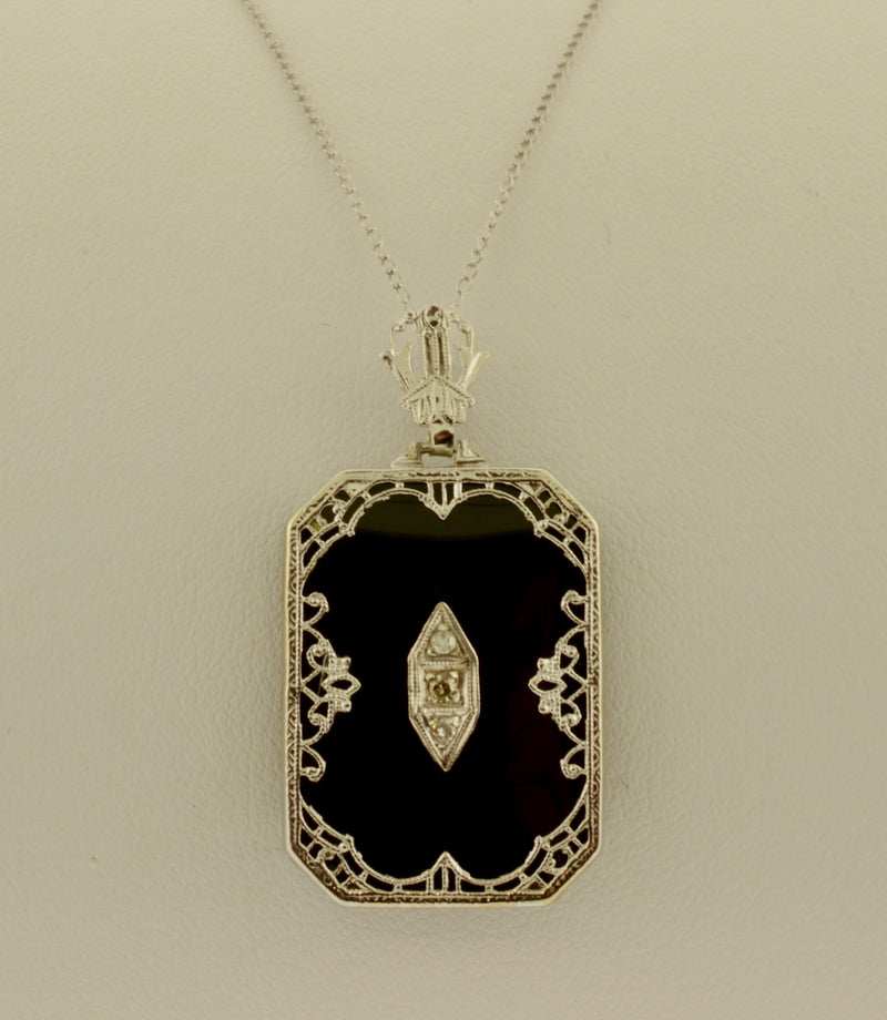 Antique Diamond and Black Onyx Gold Lavalier Necklace