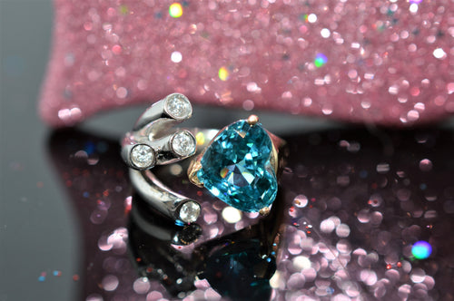 14K Two-Tone Diamond And Blue Zircon Heart Ring