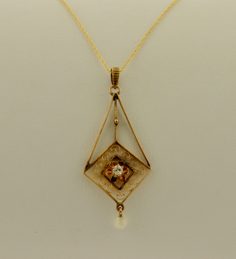 Antique Diamond and Pearl Gold Lavalier Necklace