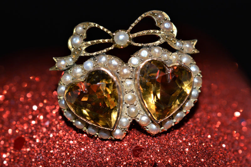 Victorian Citrine Heart and Pearl Gold Brooch