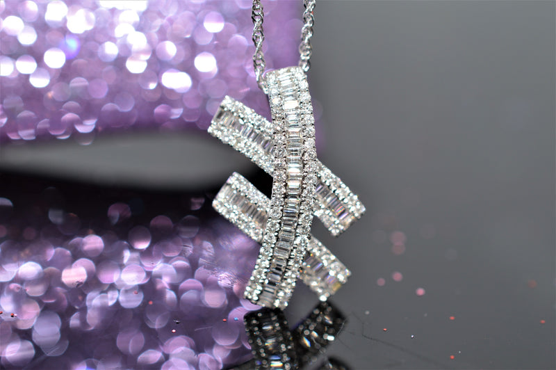 18K White Gold Diamond Cross Hatch Pendant