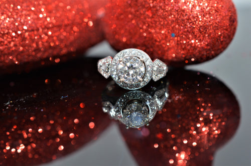 14K Halo Style with Intricate Band Designed Diamond Engagement Ring