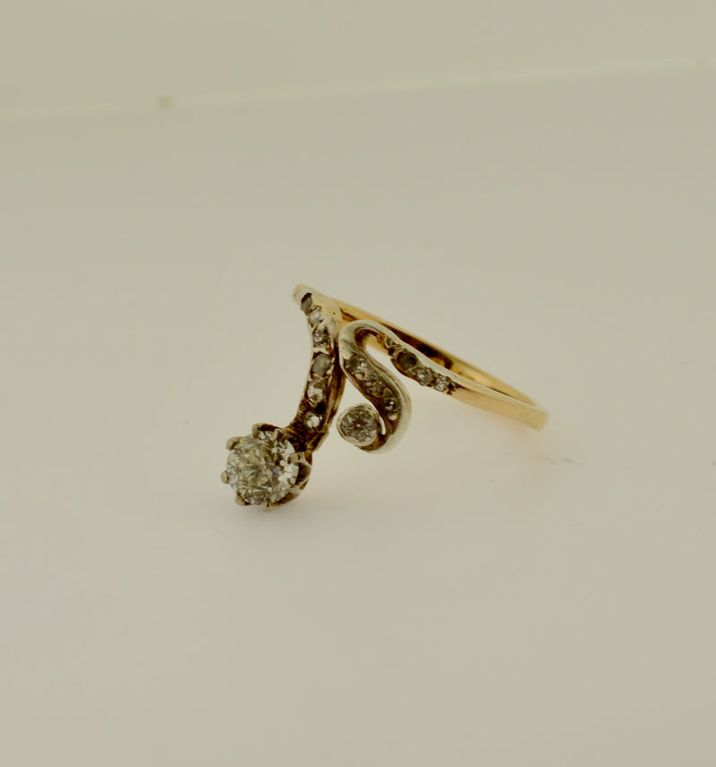 Antique Old Cut Diamond Gold Swirl Ring