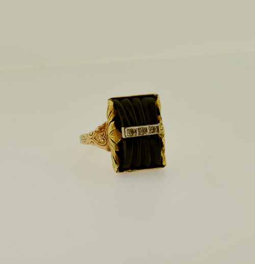 Diamond and Black Onyx Gold Ring