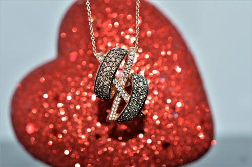 14K Rose Gold Levian Chocolate And White Diamond Pendant