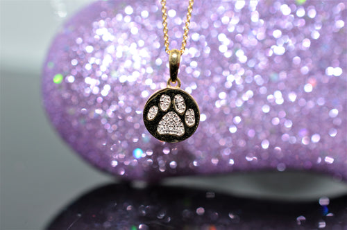 14K Yellow Gold Diamond Paw Print Pendant