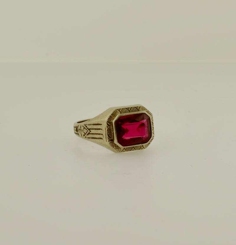 Vintage Synthetic Ruby White Gold Ring