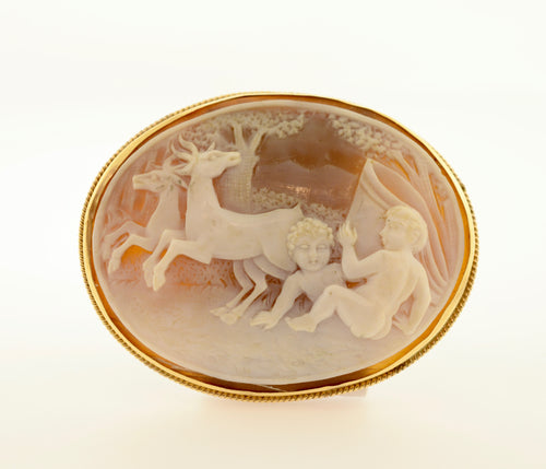 Infant and Deer Shell Cameo Brooch