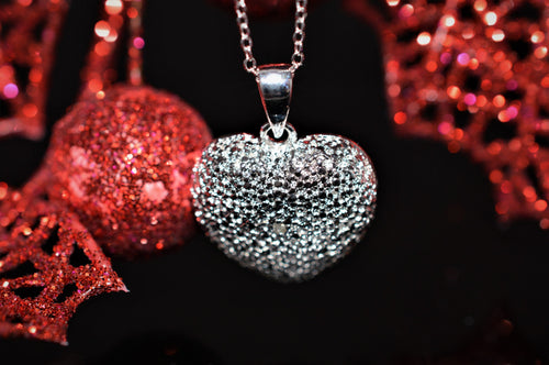 Sterling Silver Puffed Heart Necklace With Diamond Accent