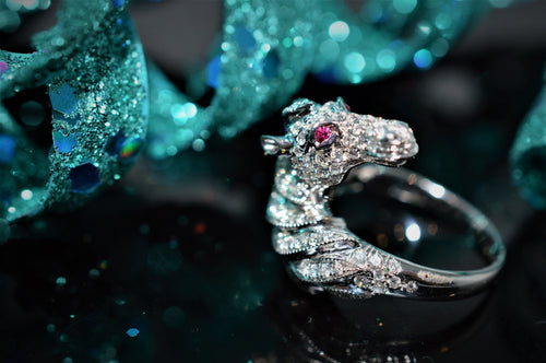18K White Gold Diamond Horse Ring with Ruby Accents