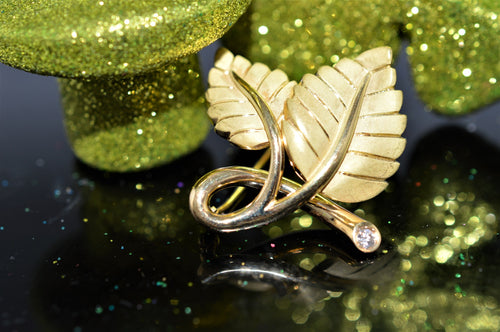 18K Yellow Gold Tiffany And Co. 2 Leaf Brooch