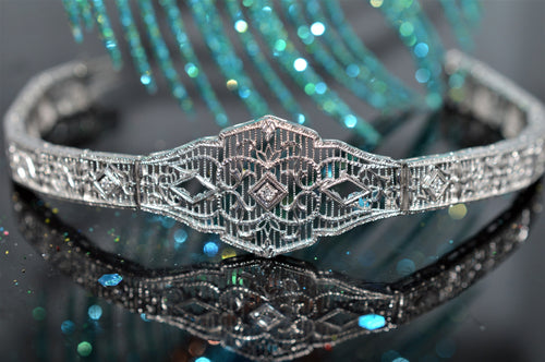 14K Art Deco Filigree Diamond Bracelet