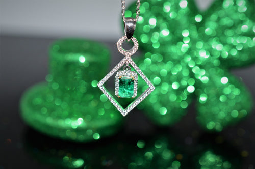 18K Emerald And Diamond Articulated Geometric Pendant