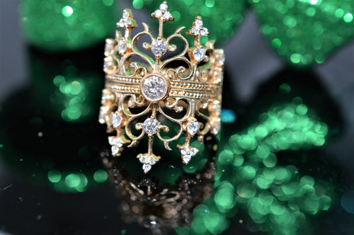 Diamond Double Crown Gold Fashion Ring