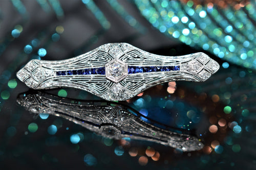 Platinum Art Deco Diamond and Sapphire Filigree Brooch