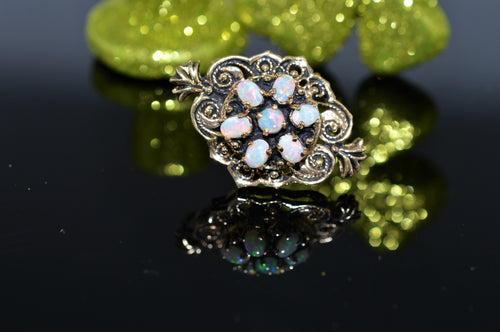 14K Yellow Gold Antiqued Opal Brooch/Pendant