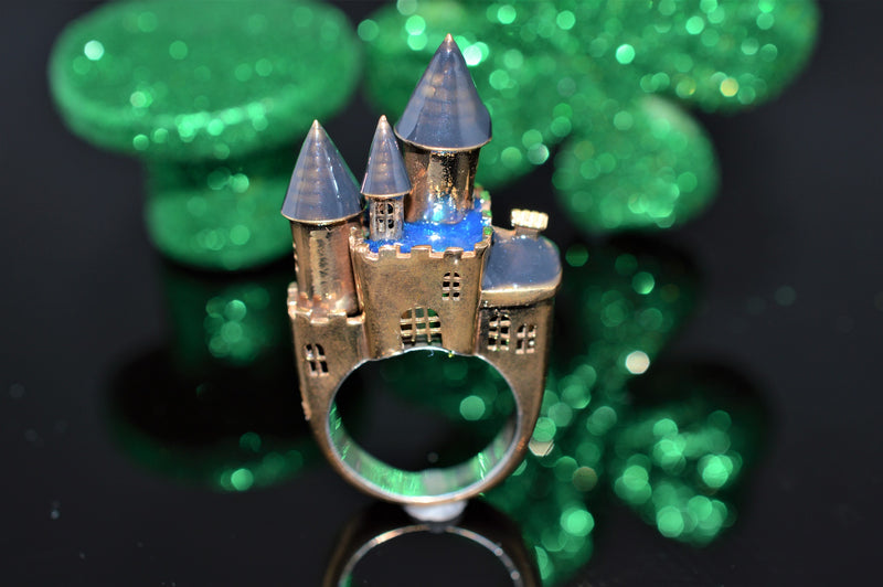 Architectural Castle Ring with Enameling