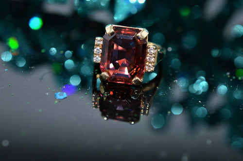 14K Pink Tourmaline and Diamond Fashion Ring