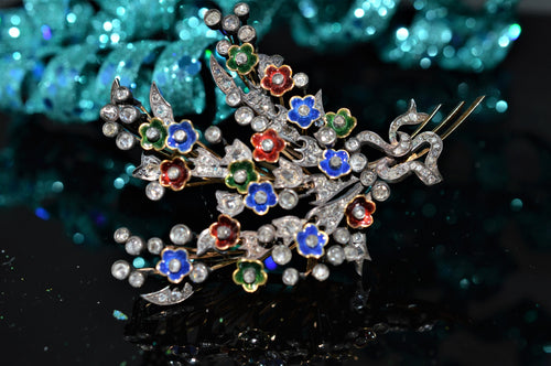 Silver Topped 14K Diamond and Enamel Flower Brooch