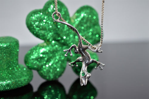 Sterling Silver and Emerald Lizard Necklace