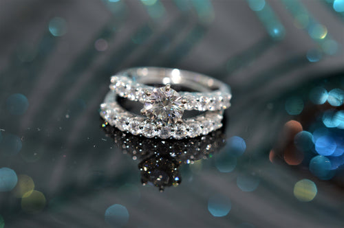 14K Diamond Engagement Ring With Matching Wedding Band
