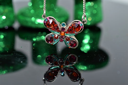 Plated Antique Silver Multicolor Butterfly Pendant