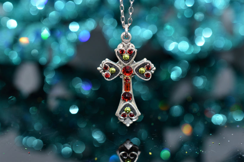 Plated Antique Silver Cross Pendant Fire Red