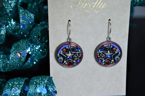 Plated Antique Silver Multicolor Star Earrings